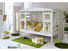 Dětská designová postel z masivu domeček SAFARI  bílá