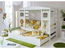 Dětská postel domeček SAFARI bílá rozkládací