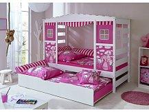 Dětská postel domeček PRINCEZNA PINK bílá rozkládací