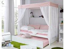 Dětská postel s nebesy HVĚZDIČKA ROSA a přistýlkou MARIANNE