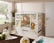 Dětská postel MINI MARIANE domeček SAFARI bílá rozkládací