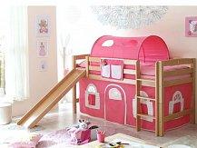 Vyvýšená dětská postel se skluzavkou THEO PG buk