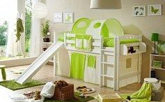 Vyvýšená dětská postel se skluzavkou THEO PG bílá buk