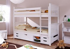 Patrová postel SAMMY se zábranou a úložným prostorem MARLIES bílá