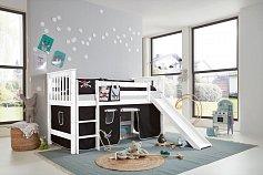 Dětská postel buk  bílá se skluzavkou KICCK