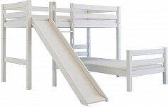 Dětská patrová postel z masivu buk EMIL 200x90 bílá