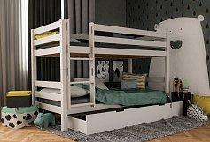 Dětská patrová postel z masivu buk MARK  bílá 200X90