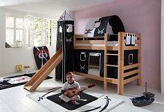 Patrová postel BENI SB se skluzavkou buk