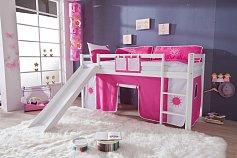 Dětská zvýšená postel se skluzavkou TOBYmasiv buk bílá