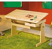 Rostoucí polohovací psací stůl  masiv borovice