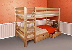 Patrová postel pro děti BENI buk KOMPLET (2x matrace+2x rošt+2x box)