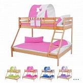 Dětská patrová postel MAXIM z masivu buk s rozšířeným spodním lůžkem