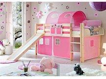 Ticaa patrová postel natur se skluzavkou MANUEL růžová/pink