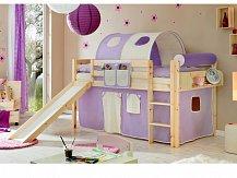 Ticaa patrová postel natur se skluzavkou MANUEL fialovo/béžová