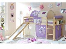 Ticaa patrová postel natur se skluzavkou MANUEL princezna/fialová