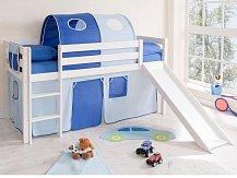 Vyvýšená dětská postel se skluzavkou bílá MANUEL