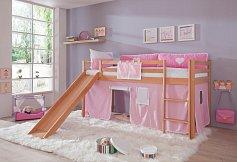 Dětská zvýšená postel se skluzavkou TOBY BUK KOMPLET (1x matrace+1x rošt)