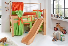 Zvýšená postel se skluzavkou LEO PLUS natur