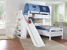 Patrová postel se skluzavkou SKY bílá buk