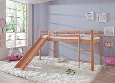 Dětská zvýšená postel se skluzavkou masiv buk -TOBY