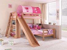 Dětská patrová  postel se skluzavkou SKY buk